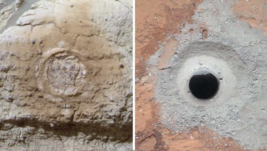 Opportunity and Curiosity Rock Abrasion Tools